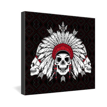 Chobopop Geometric Indian Skull Gallery Wrapped Canvas
