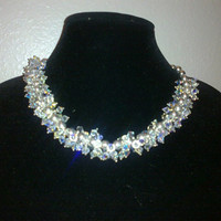 SWAROVSKI CLUSTER NECKLACE by jewelryandmorebyjb on Etsy