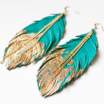 Feather Earrings Leather Feather Jewelry by LoveAtFirstBlush