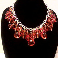 ORANGE Chained STATEMENT NECKLACE by jewelryandmorebyjb on Etsy