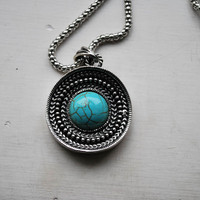 Tibetan Traditional Style Silver and Turquoise Necklace - Necklaces & Pendants