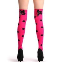 Pink Polka Dot With Black Bow Warm Cotton - Over The Knee Socks