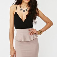 Peplum Wrap Dress - Black/Taupe