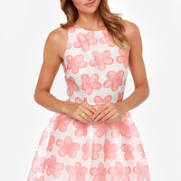 BB Dakota Shirley Light Red and White Floral Print Dress