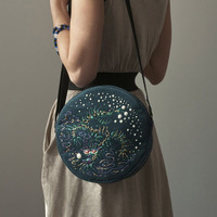 Round Bag / Purse Hand Painted Bag / Purse Boho Asian by Marewo