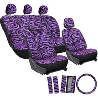 OxGord 17pc Set Zebra Animal Print / Purple & Black Auto Seat Covers Set - Airbag Compatible - Front Low Back Buckets - 50/50 or 60/40 Rear Split Bench - 5 Head Rests - Universal Fit for Car, Truck, Suv, or Van - FREE Steering Wheel Cover