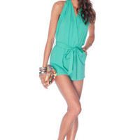 At the Halter Romper in Jade :: tobi