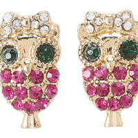 Betsey Johnson Enchanted Forest Owl Stud Earrings