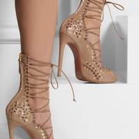 Alaïa - Studded lace-up leather sandals