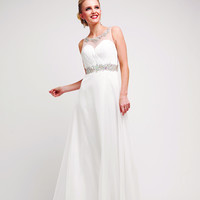 Sleeveless Sheer Rhinestone Neckline Simple Wedding Prom Dress Long Floor Length
