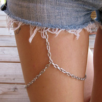 MATTE SILVER leg chain thigh chain by houseofmarissanicole on Etsy
