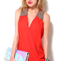 Beaded Shoulder Twisted Top in Tomato Red