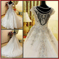 YZ Luxury Crystal Bright Diamond Sexy Fancy Wedding Dress NVNM