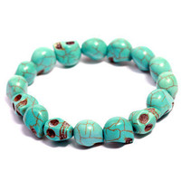 GYPSY WARRIOR - Skull Bead Bracelet - Turquoise