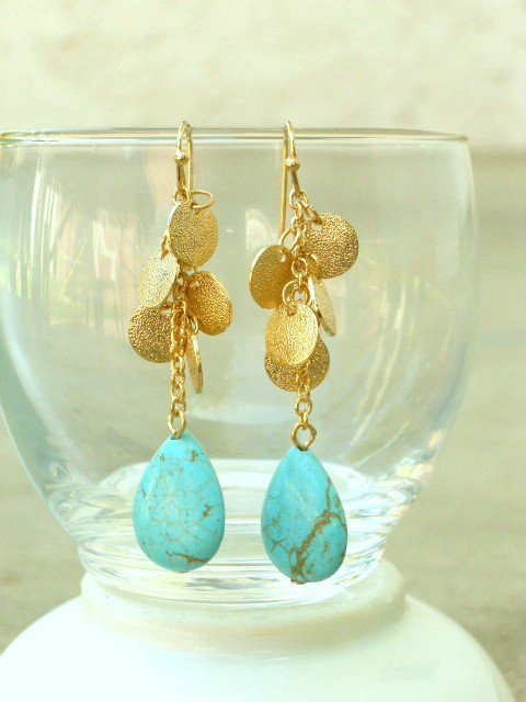 Tango with Turquoise Dangle Earrings : deloom | Modern. Vintage. Crafted.