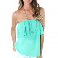 Emerald Ruffle Cutout Top