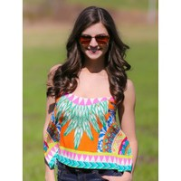 Sun Dance Crop Top-Tangerine