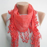 Coral pink cotton lace spring summer scarf by sascarves on Etsy