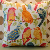 Birds on a Branch Pillow Cover in Orange, Yellow, Rose, and Blue  | JRsPillowsandBags - Housewares on ArtFire