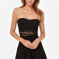 Worth the Waist Black Strapless Dress