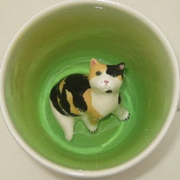 Calico Cat Surprise Mug by SpademanPottery on Etsy