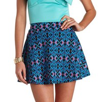Neon Pop Geometric Print Skater Skirt