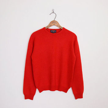 100% Cashmere Sweater Red Cashmere Jumper Red Sweater Red Jumper Knit Sweater Crewneck Sweater Pullover Sweater Oversize Sweater M Medium