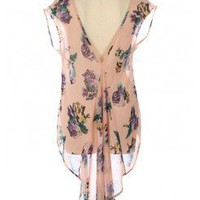 High Low Tail Floral Chiffon Blouse