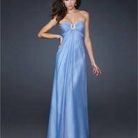 Strapless Chiffon With Sweetheart Beaded and Pleatede Prom Dress PD1801