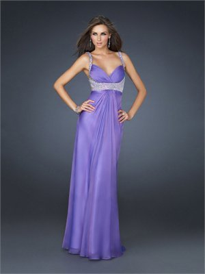 Glamourous Empire Pleated Beaded Waistband and Straps Chiffon Prom Dress PD1803