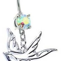 Sparkling Ab Aurora Double Gem HOLLOW DOVE Swallow Bird Dangle Belly button Navel Ring 14 gauge