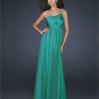 One Shoulder Gathered Pleated Beaded on Strap Chiffon Prom Dress PD1806