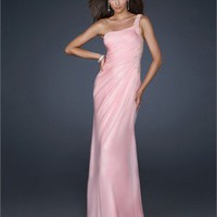 One Shoulder Pleated Beaded on Shoulder and Side Hip Prom Dress PD1811