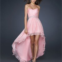 High-Low Sweetheart Pleated Beaded Waistband Chiffon Prom Dress PD1814