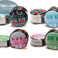0g9/16in Colorful Aztec Pattern Plugs by SkywalkerDesigns on Etsy