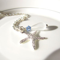 Sea glass starfish Necklace with saphhire swarovski crystal by SeaglassGallery