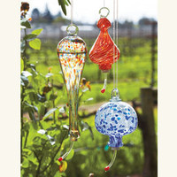 Recycled Glass Hummingbird Feeders