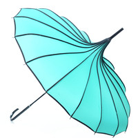 Mint & Polka Dot Trim Pagoda Umbrella
