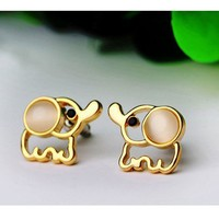 Very Cute Girls Jeweled Elephant Stud Earrings (ivory)