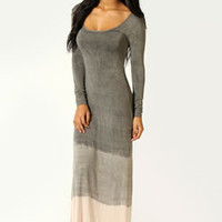 Darcey Long Sleeve Dip Dye Maxi Dress
