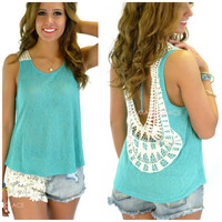 Sun Salutation Jade Open Back Crochet Tank