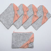 Bridesmaid Gift Bag Set / Bachelorette Favor - New Gray Chevron Orange Coral Bow - Customizable Wedding Bags - Choose Quantity and Bow Style