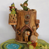 Gnome Tree Fort House by willodel on Etsy