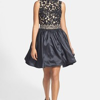 Sherri Hill Back Cutout Lace & Taffeta Fit & Flare Dress | Nordstrom