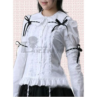 Best Sale Long Sleeves Bowknot Cotton White Lolita Blouse with Frill [TQL120428166] - $42.16 : Zentai, Sexy Lingerie, Zentai Suit, Chemise