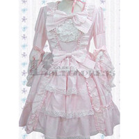 Angelical Long Sleeves Bowknot Multi-Layer Lace Cotton Light Pink Sweet Lolita Dress [TQL120507098] - $83.39 : Zentai, Sexy Lingerie, Zentai Suit, Chemise