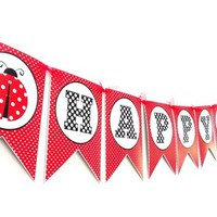 Ladybug Birthday Party Banner in Red and White Polka Dot  | adorebynat - Seasonal on ArtFire