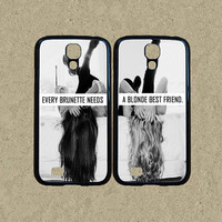 S3 mini case,S4 mini case,Samsung S3 case,Samsung S5 case,Samsung Galaxy S4 case,Samsung Galaxy S5--brunette blonde best friend,in plastic.