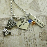 Personalized Stamped Cheerleader Necklace - double tag