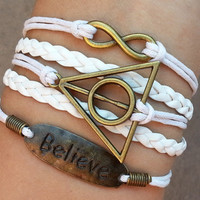 Charm Bracelet 274: Leather Braid Bracelet Harry Potter Bracelt, Believe Bracelet, Infinity Wish Bracelet